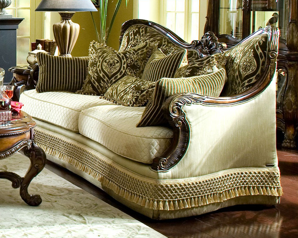 fabric sofa sets with wood trim crestview dark brown top grain leather reclining and loveseat aico chateau beauvais ai-75815