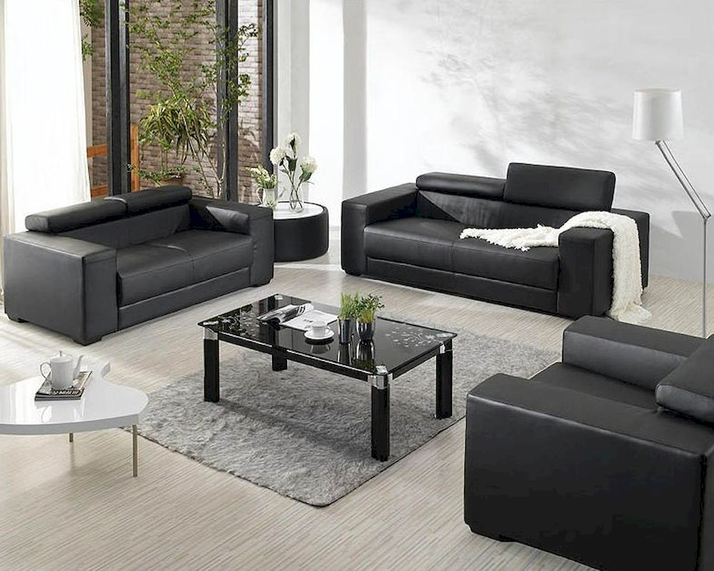 modern bonded leather sectional sofa with recliners small corner bed black set 44l2909