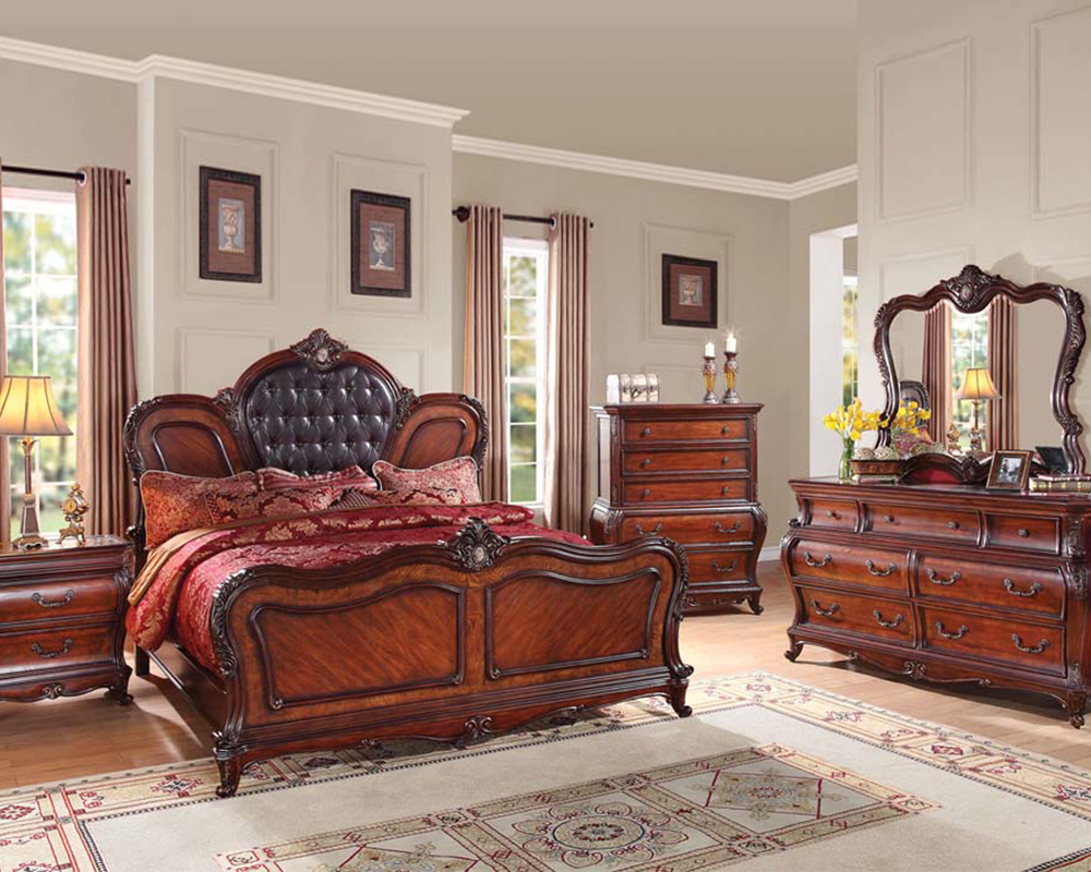 Cherry Finish Bedroom Set Dorothea by Acme Furniture