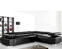 Contemporary Black Leather Sectional Sofa Set 44L0597