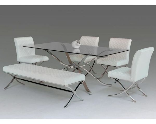 Contemporary Dining Set With Glass Top Table 44d1101-20-set