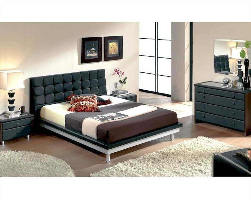 Modern Bedroom Set in Black Made in Spain 33B51