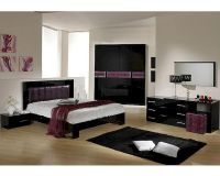 Modern Bedroom Set in Black/ Purple Finish Made in Italy ...