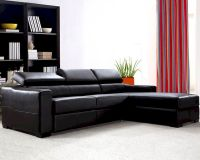 Reversible Leather Sectional Sofa Bed Set with Storage 44L0647