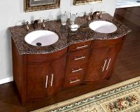 "Silkroad 58"" Double Bathroom Vanity Brown Granite Top ..."