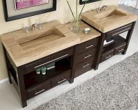 "Silkroad 92"" Double Sink Cabinet w/Drawer Bank, Vanity Top ..."
