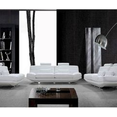 Sofa Mart Sectional Two Piece Slipcovers Ultra Modern Design White Leather Set 44l0670