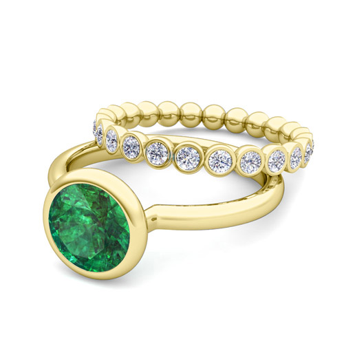 Emerald Ring and Diamond Wedding Ring Bridal Set in 14k