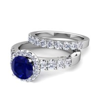 Build Your Own Halo Engagement Ring Bridal Set in Pave ...
