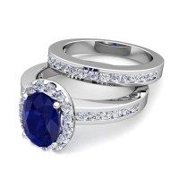 Create Your Own Halo Engagement Ring Bridal Set with Gemstones
