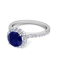 Build Your Own Engagement Ring with Gemstones in Pave Diamonds