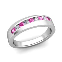 His and Hers Matching Wedding Band Platinum Pink Sapphire Ring