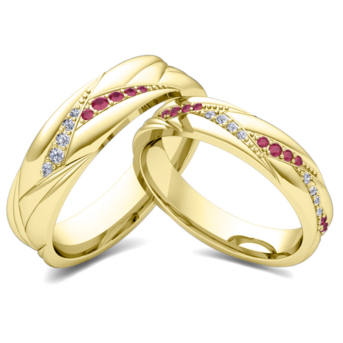 His Her Matching Wedding Ring Bands In 14k Gold Ruby