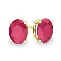 Natural Oval Ruby Stud Earrings in 18k Gold 4 Prong Studs ...