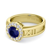 Build My Love Roman Numeral Ring in Halo Gemstone ...