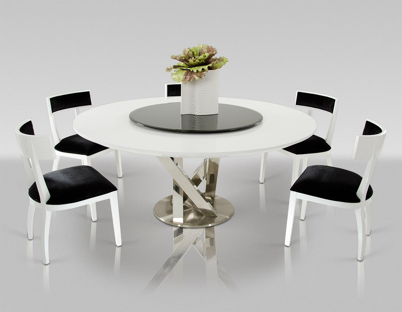 white round dining room table and chairs bungee chair pink a andx spiral modern with lazy susan