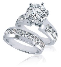 Bergamo 2.5 Carat Round Prong Set Cubic Zirconia Channel ...
