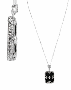 Art Deco Fleur de Lis Filigree Black Onyx and Diamond