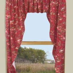 Red Valances For Kitchen Windows And Bath Cabinets Climbing Roses & Curtains - Thecurtainshop.com
