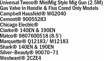 Tweco MiniMig Style Universal Replacement Mig Guns (8')