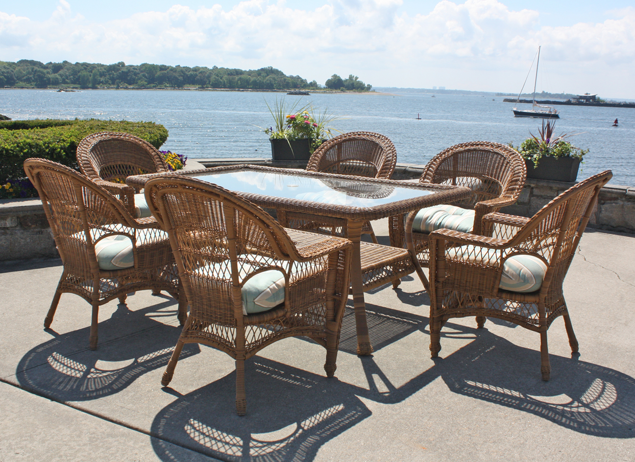 Outdoor Wicker Dining Chairs Outdoor Wicker Dining Set Cape Cod Natural Finish