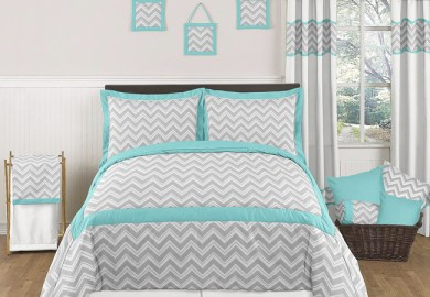 Grey Chevron Queen Bedding