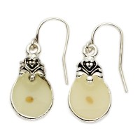 Silver Plated Round Earrings with Centered Mustard Seed