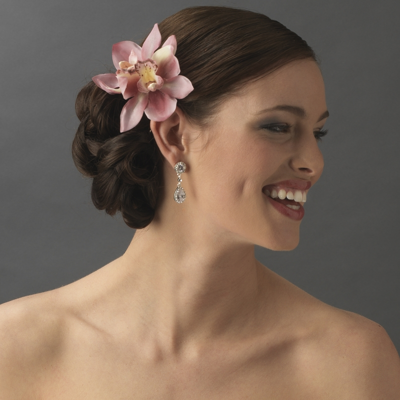 Realistic Looking Bridal Orchid Flower Hair Clip Clip