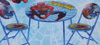 spiderman table and chairs resin chaise lounge the amazing 3 piece folding chair set children s