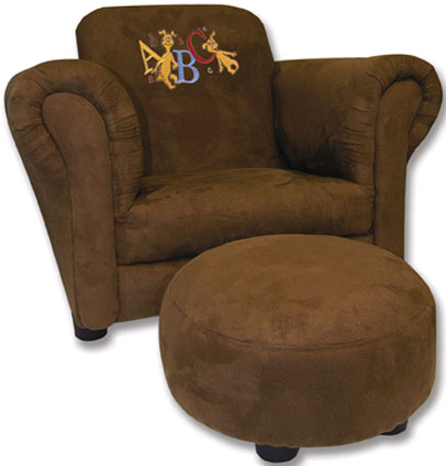 dr seuss chair hans wegner halyard abc embroidery brown ultra suede ottoman kids chairs
