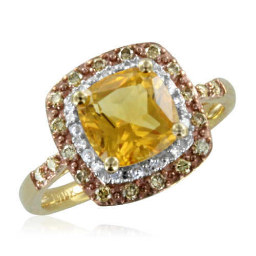 Natural Citrine And Brown Diamond Ring 10k Yellow Gold