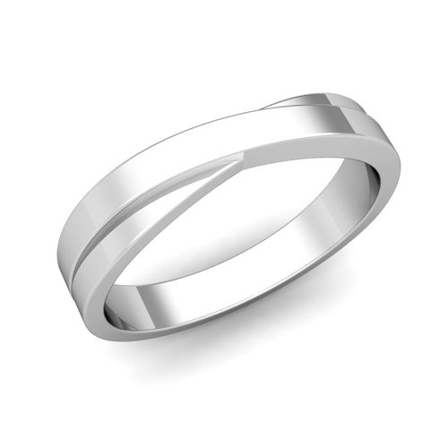 Infinity Wedding Band In 14k Gold Mens Comfort Fit Ring, 4mm