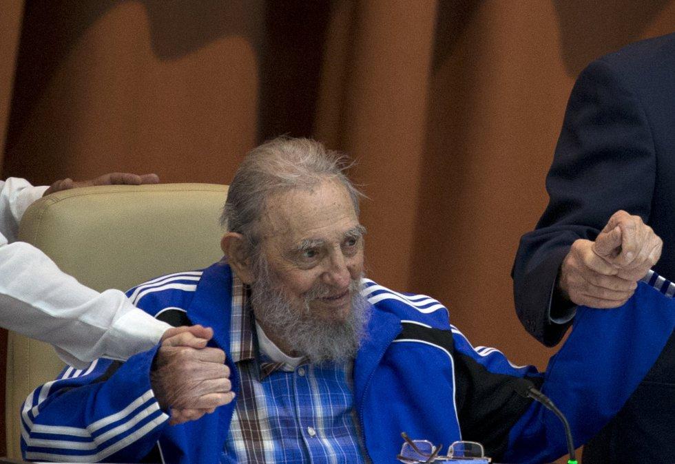 Fidel Castro, durante la clausura del 7º Congreso del Partido Comunista Cubano, el 19 de abril de 2016 en La Habana.