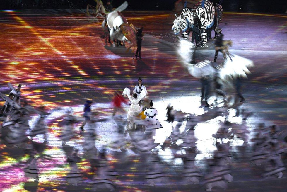 Actuación durante la ceremonia de inauguración de los Juegos Olímpicos de PyeongChang 2018, el 9 de febrero.