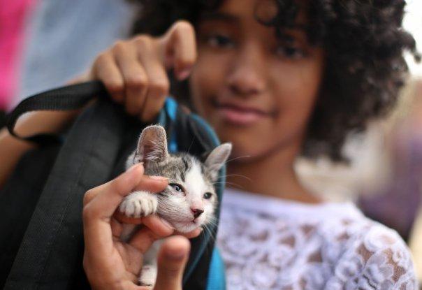 Una niña posa con gato en una marcha para reclamar una ley de protección para los animales en La Habana (Cuba), el 15 de abril de 2018.