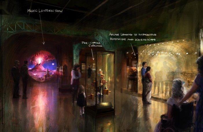Esboços e conceito do que será a exposição principal do futuro Museu da Academia, que será inaugurado no final de 2019 em Los Angeles