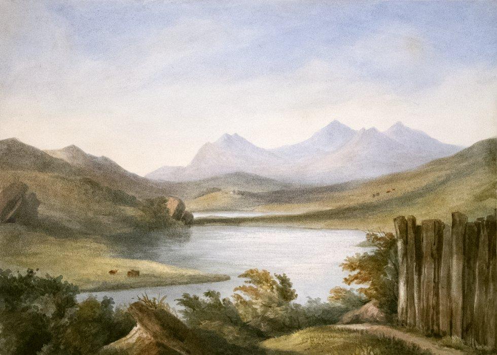 Snowden- from the Inn Garden at capel Curig, de un álbum de acuarelas, 1835-63
