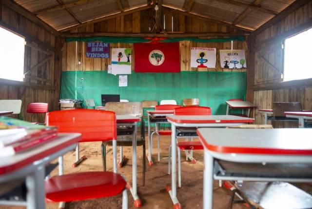 Uma sala de aula da escola itinerante Herdeiros do Saber.