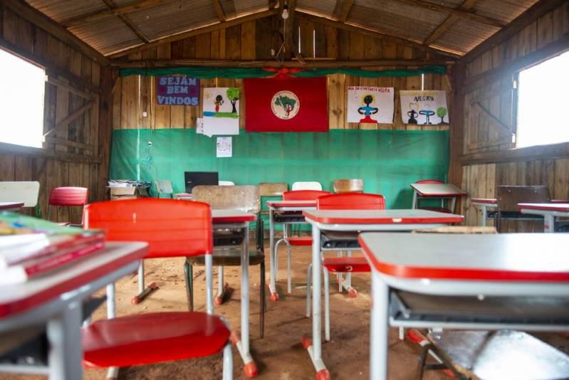 Una aula de la escuela itinerante Herederos del Saber.