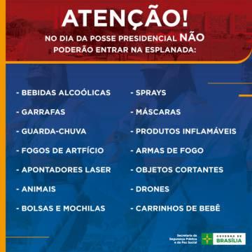 Restrições para quem quer assistir à posse em Brasília.