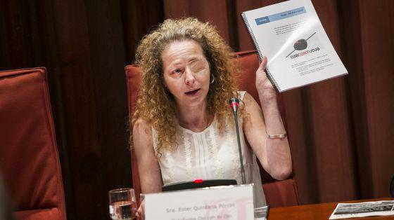 Ester Quintana en su comparecencia en el Parlament de Catalunya. / MASSIMILIANO MINOCRI