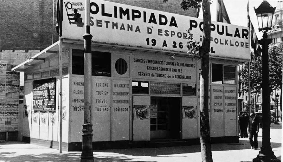 Puesto de la Olimpiada Popular para atender a los deportistas en Barcelona en 1936.