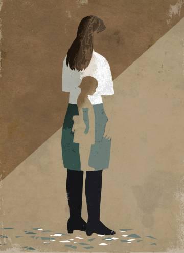 desenho de uma mulher adulta dentro uma sombra de uma menina
