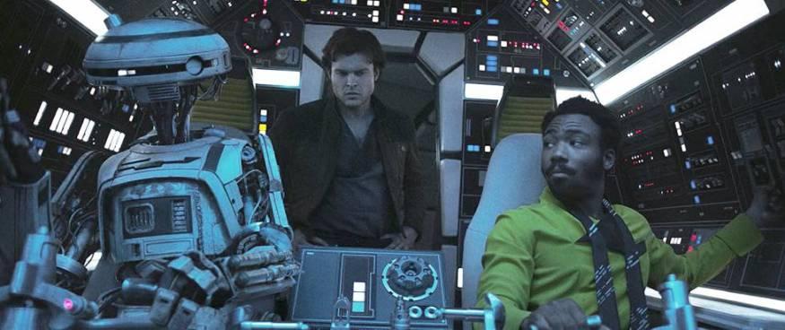 Alden Ehrenreich, como Han Solo, y Donald Glover, como Lando Calrissian en 'Solo: una historia de Star Wars'.