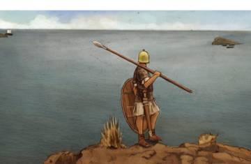 Recreación de un soldado sertoriano en la cima del Tossal de la Cala dando aviso del paso de una nave senatorial a los piratas cilicios escondidos tras las isleta de Benidorm.