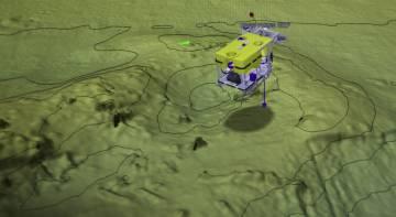 Imagen del robot escaneando el fondo submarino.