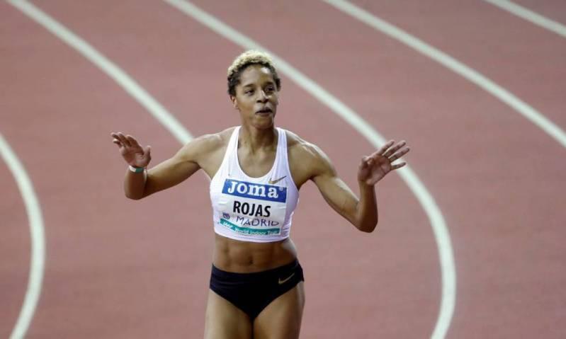 Yulimar Rojas celebra su triunfo en el triple salto femenino del Meeting Villa de Madrid