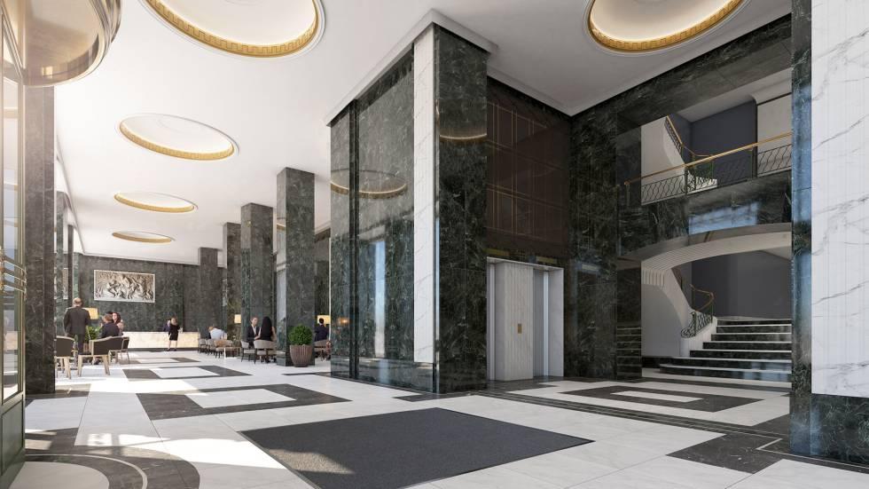 Recreación de la recepción del hotel de Riu que abrirá en el Edificio España.