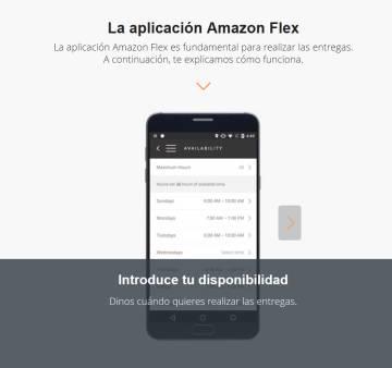 Captura de pantalla de la web de Amazon Flex donde se muestra la app.