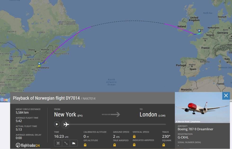 Imagen capturada de Flichtradar24 sobre el vuelo de Norwegian más rápido. Esta web permite comprobar la evolución de vuelos concretos y su ruta.